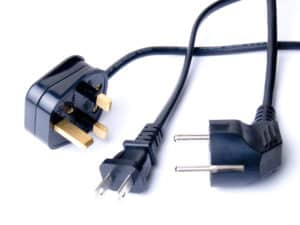 Black electrical cords on white
